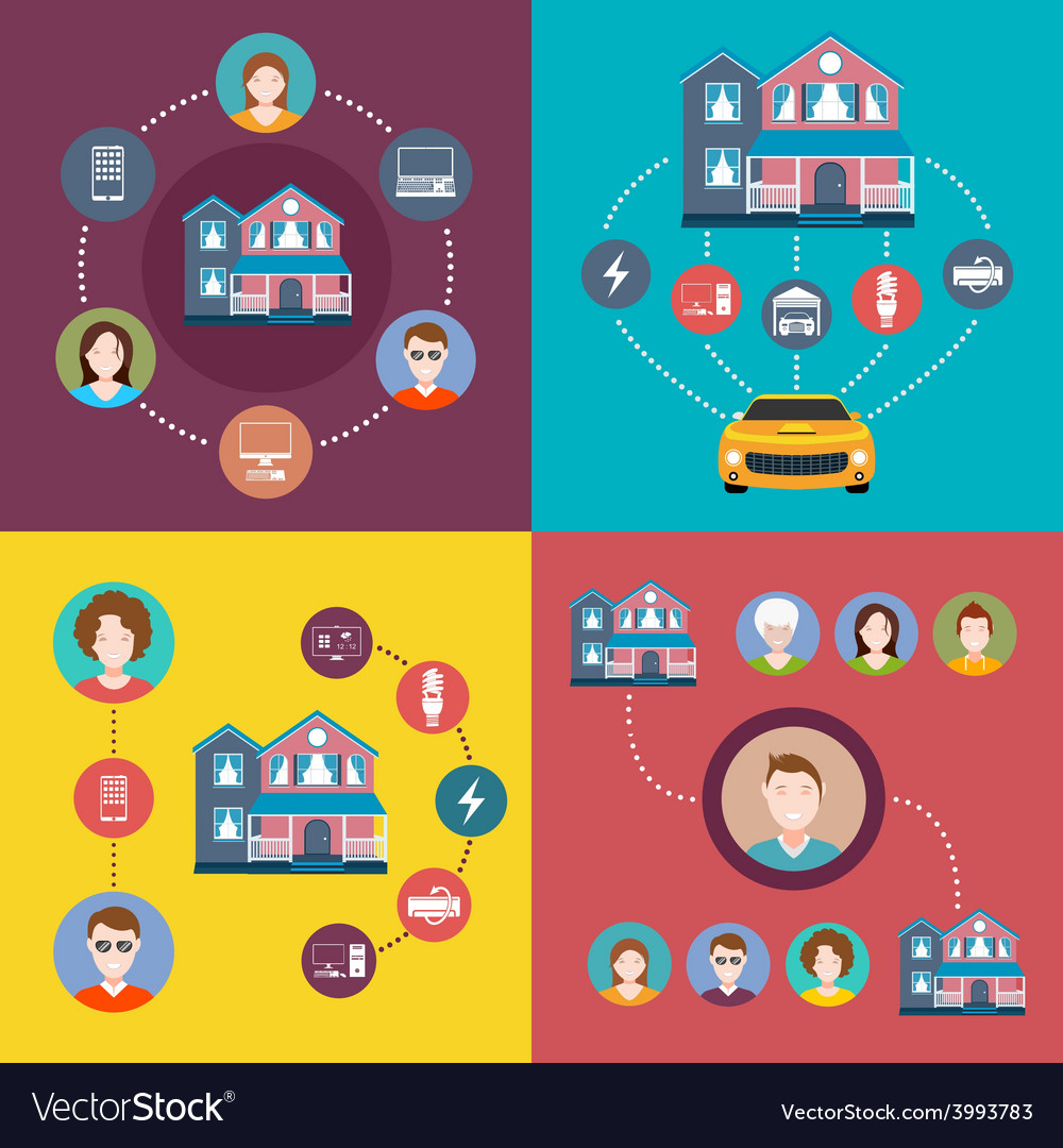 Set of elements infographics smart home vector | Price: 1 Credit (USD $1)