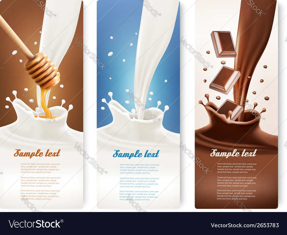 Set of milk honey and chocolate banners vector | Price: 1 Credit (USD $1)