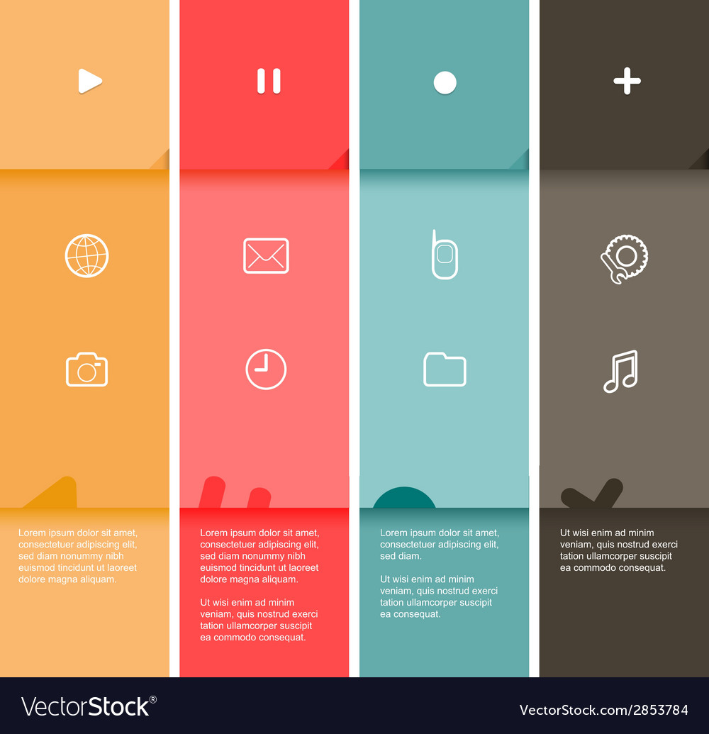 4 color flat design stripes template - vector | Price: 1 Credit (USD $1)