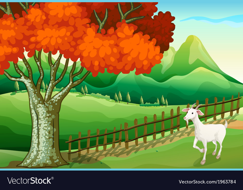 A white goat near the big tree vector | Price: 3 Credit (USD $3)