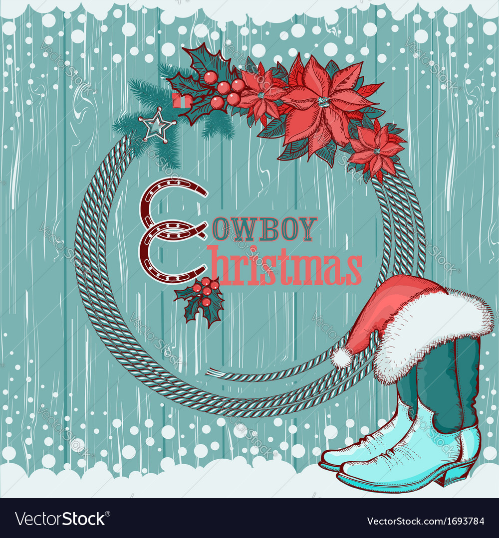 American cowboy christmas background on wood vector | Price: 1 Credit (USD $1)