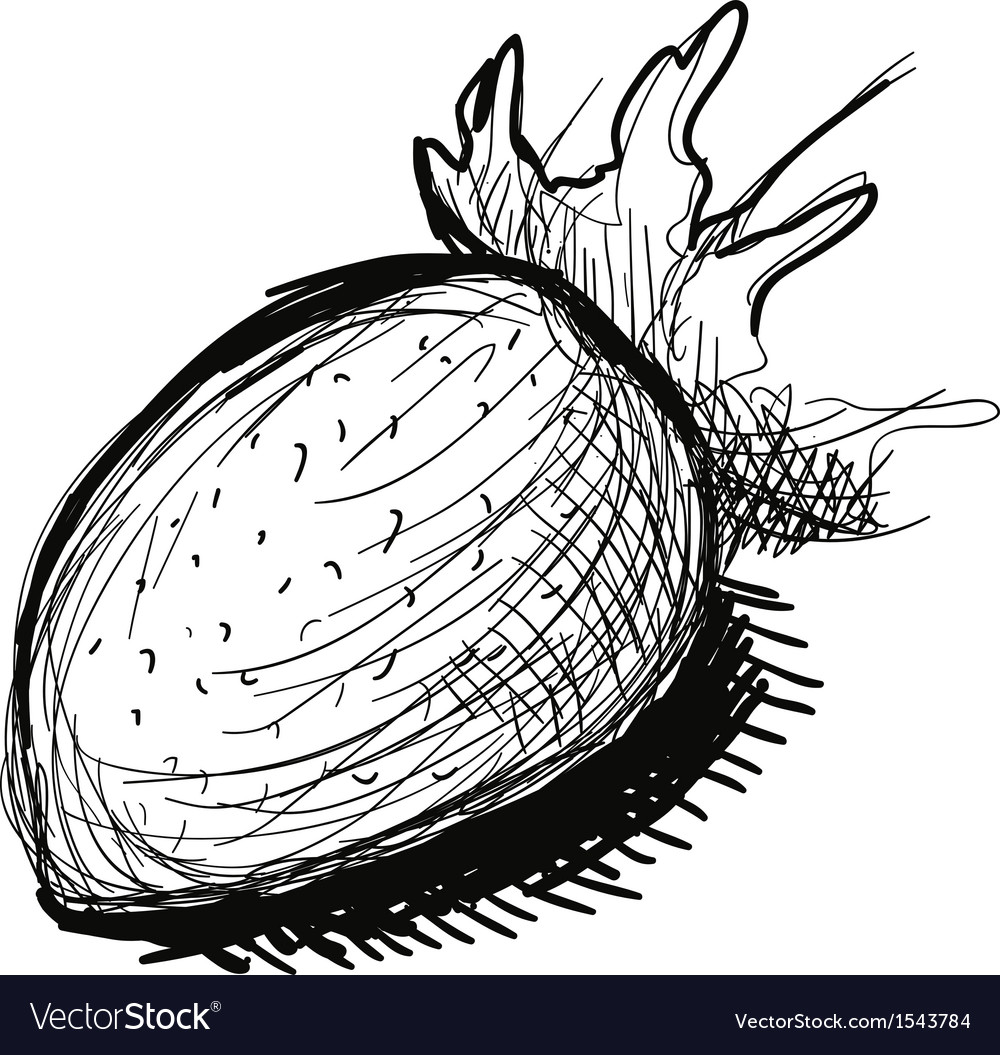 Black and white strawberry sketch vector | Price: 1 Credit (USD $1)