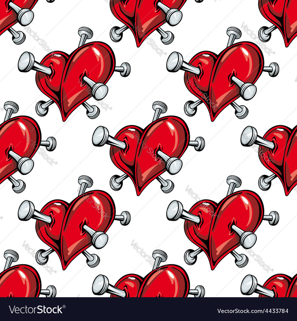 Cartoon nailed red hearts seamless pattern vector | Price: 1 Credit (USD $1)
