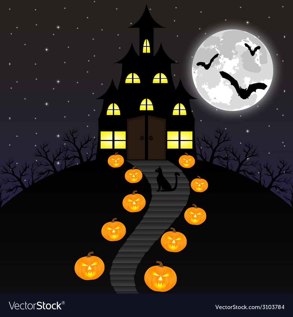 Castle witches and pumpkins on halloween vector | Price: 1 Credit (USD $1)