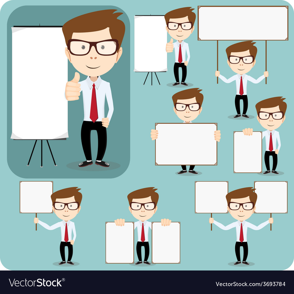 Collection of office worker with posters vector | Price: 1 Credit (USD $1)