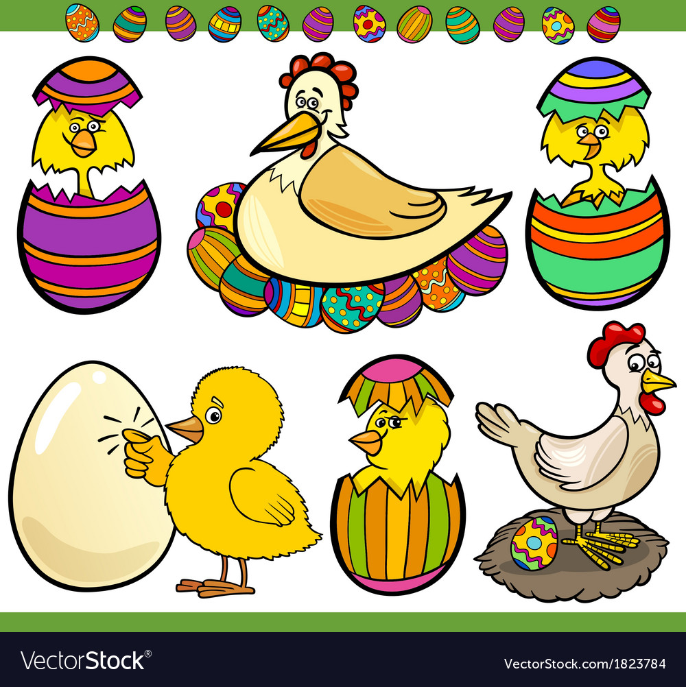Easter chickens set cartoon vector   Price: 1 Credit (USD $1)