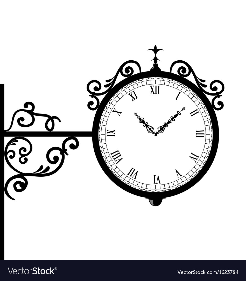 Forging retro clock with vignette arrows vector | Price: 1 Credit (USD $1)