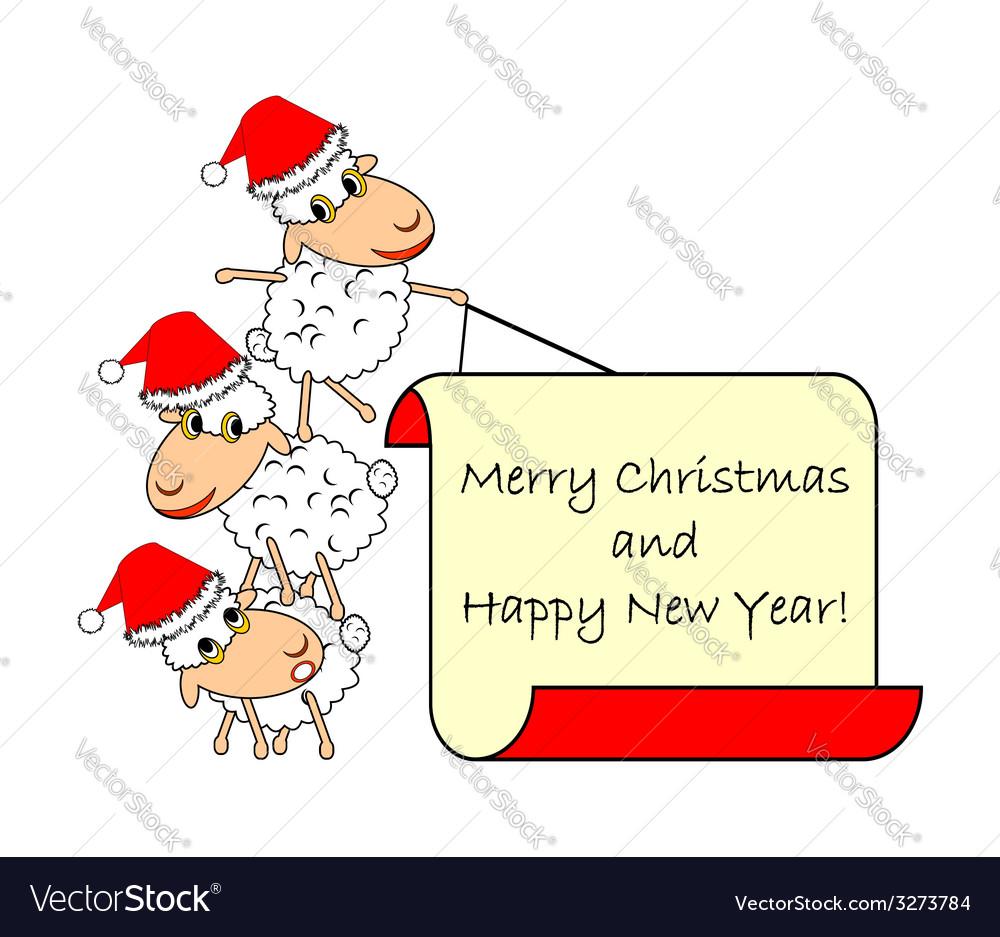 Funny christmas cartoon sheep vector | Price: 1 Credit (USD $1)