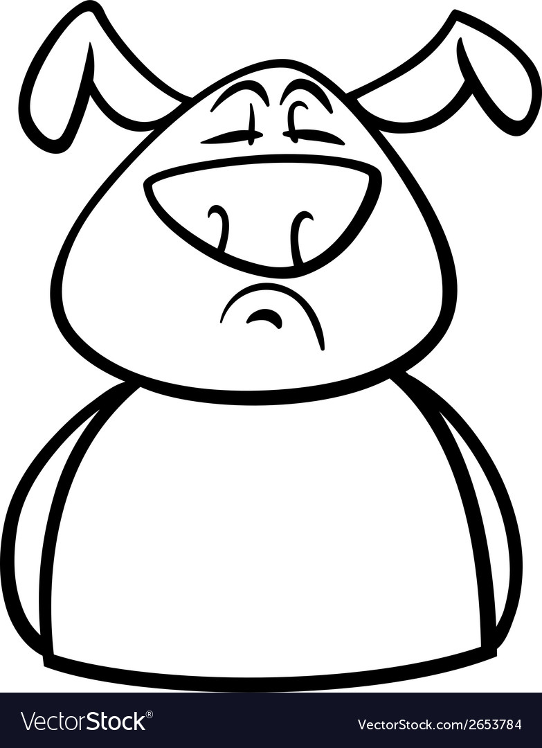 Proud dog cartoon coloring page vector | Price: 1 Credit (USD $1)