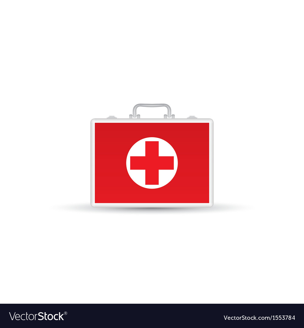 Red first aid kit isolated on white background vector | Price: 1 Credit (USD $1)