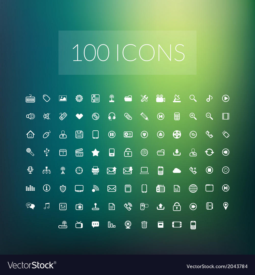 Set of 100 simple universal modern thin line icons vector | Price: 1 Credit (USD $1)