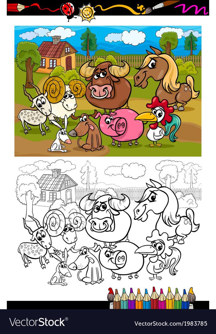 Cartoon farm animals for coloring book vector | Price: 1 Credit (USD $1)
