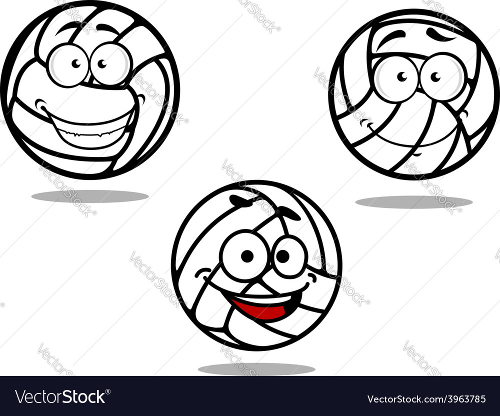 Cartoon volleyball balls on white vector | Price: 1 Credit (USD $1)