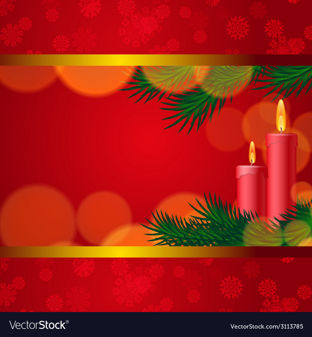 Christmas background with candles and fir tree vector | Price: 1 Credit (USD $1)