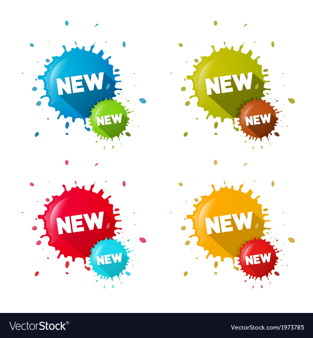 Colorful stickers - stains with new title set vector | Price: 1 Credit (USD $1)