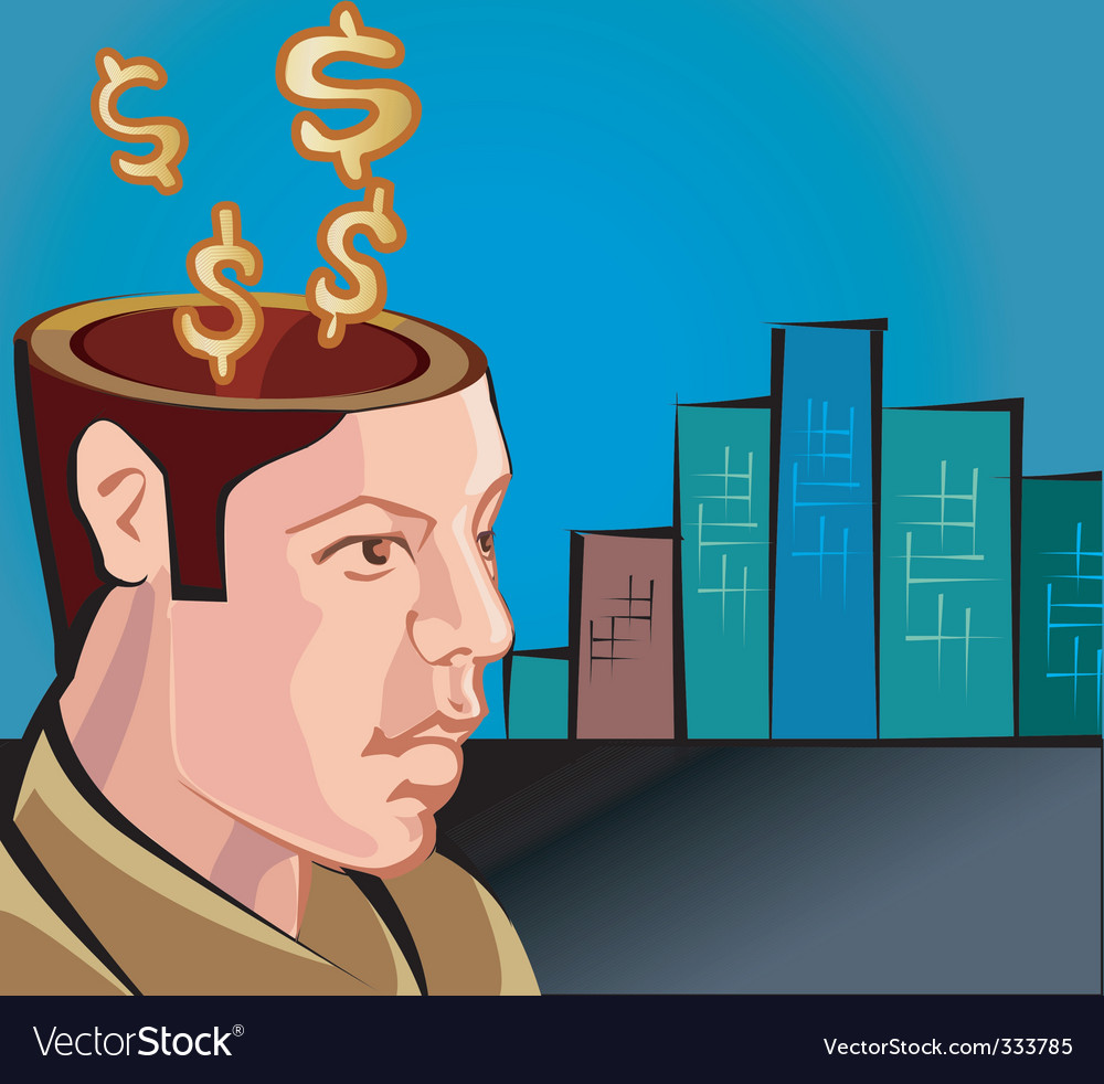 Dollar brain vector | Price: 1 Credit (USD $1)