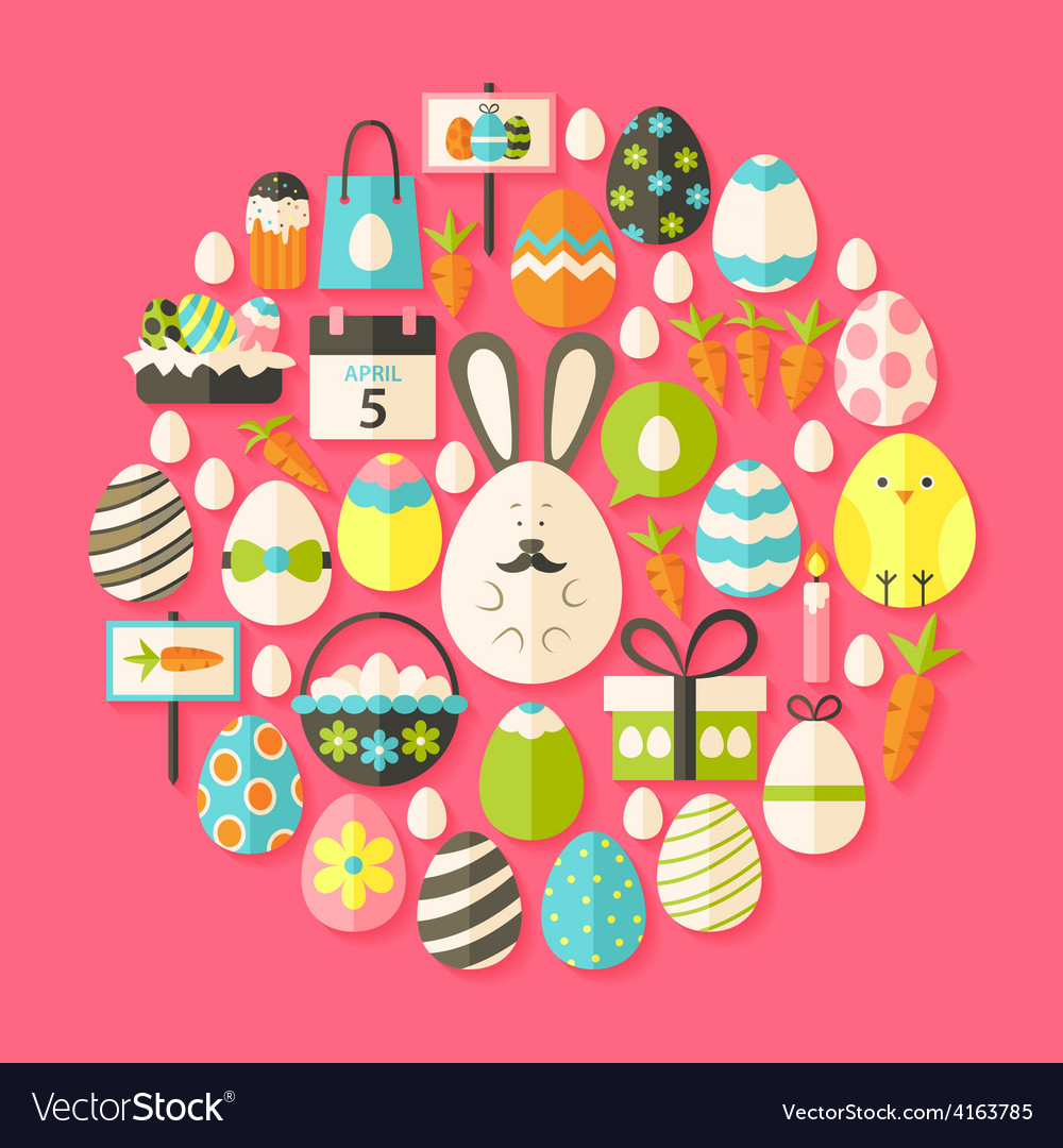 Easter holiday flat icons set circular shaped with vector | Price: 1 Credit (USD $1)