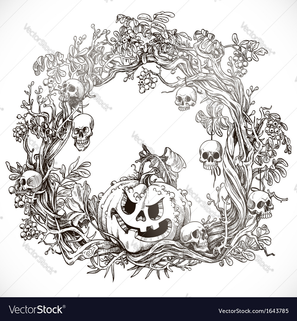 Festive decorative halloween wreath vector | Price: 1 Credit (USD $1)