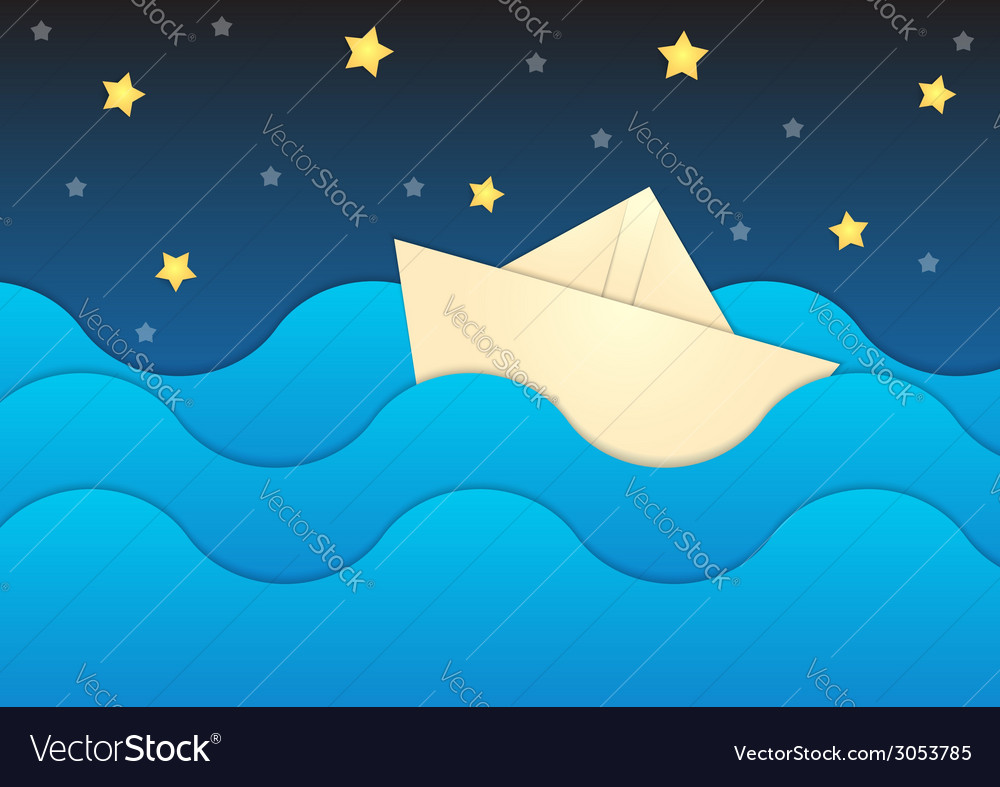 Paper boat on paper sea and night sky background vector | Price: 1 Credit (USD $1)