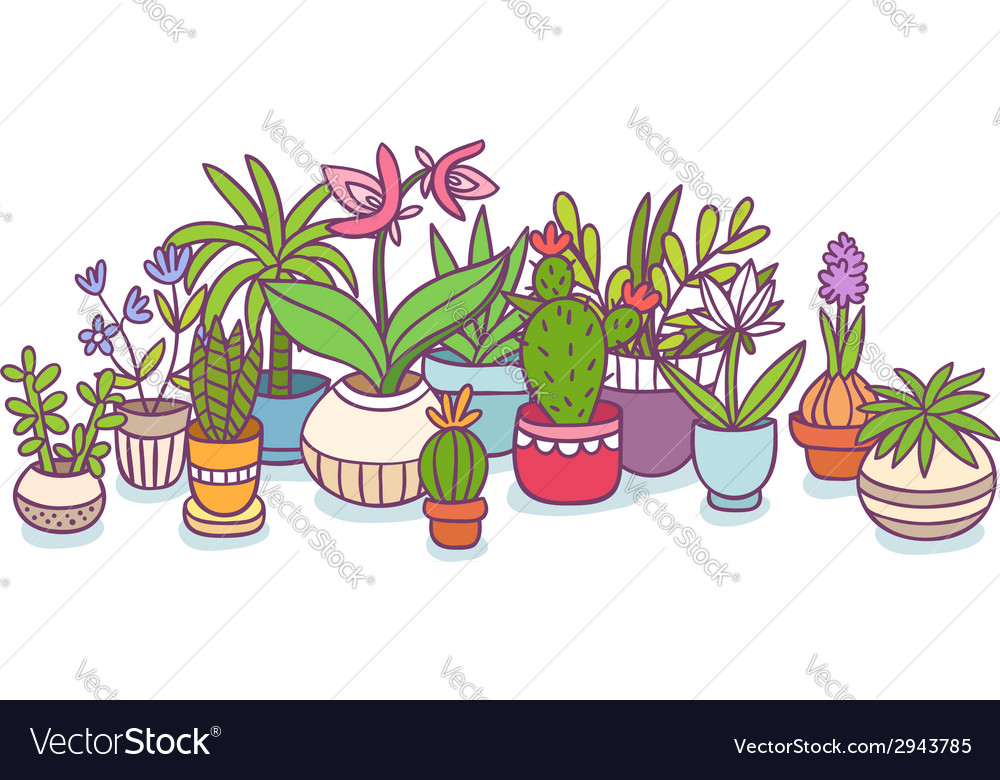 Plants in pots vector | Price: 1 Credit (USD $1)