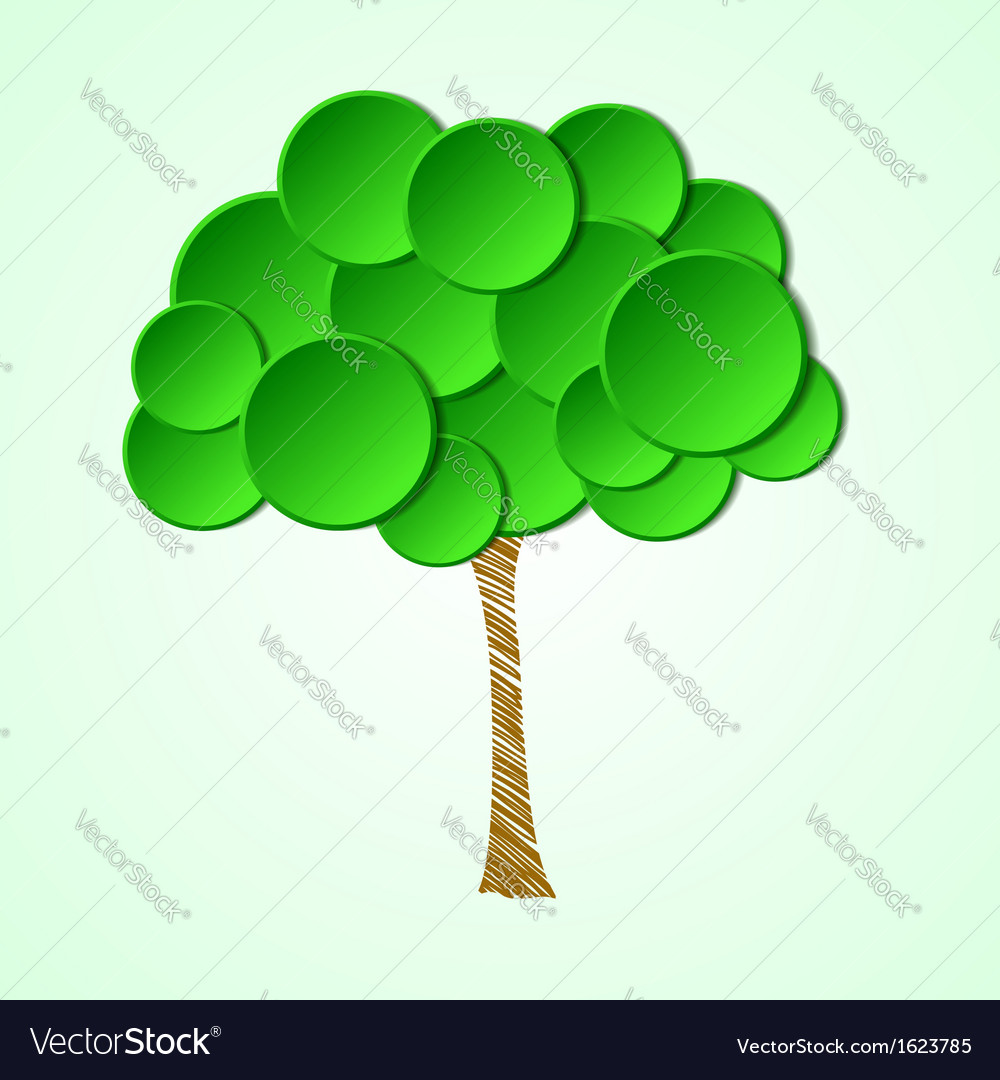Tree with a paper crown and a painted stem vector | Price: 1 Credit (USD $1)