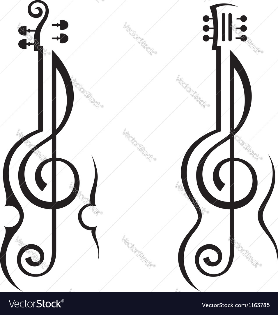 Violin guitar and treble clef vector | Price: 1 Credit (USD $1)