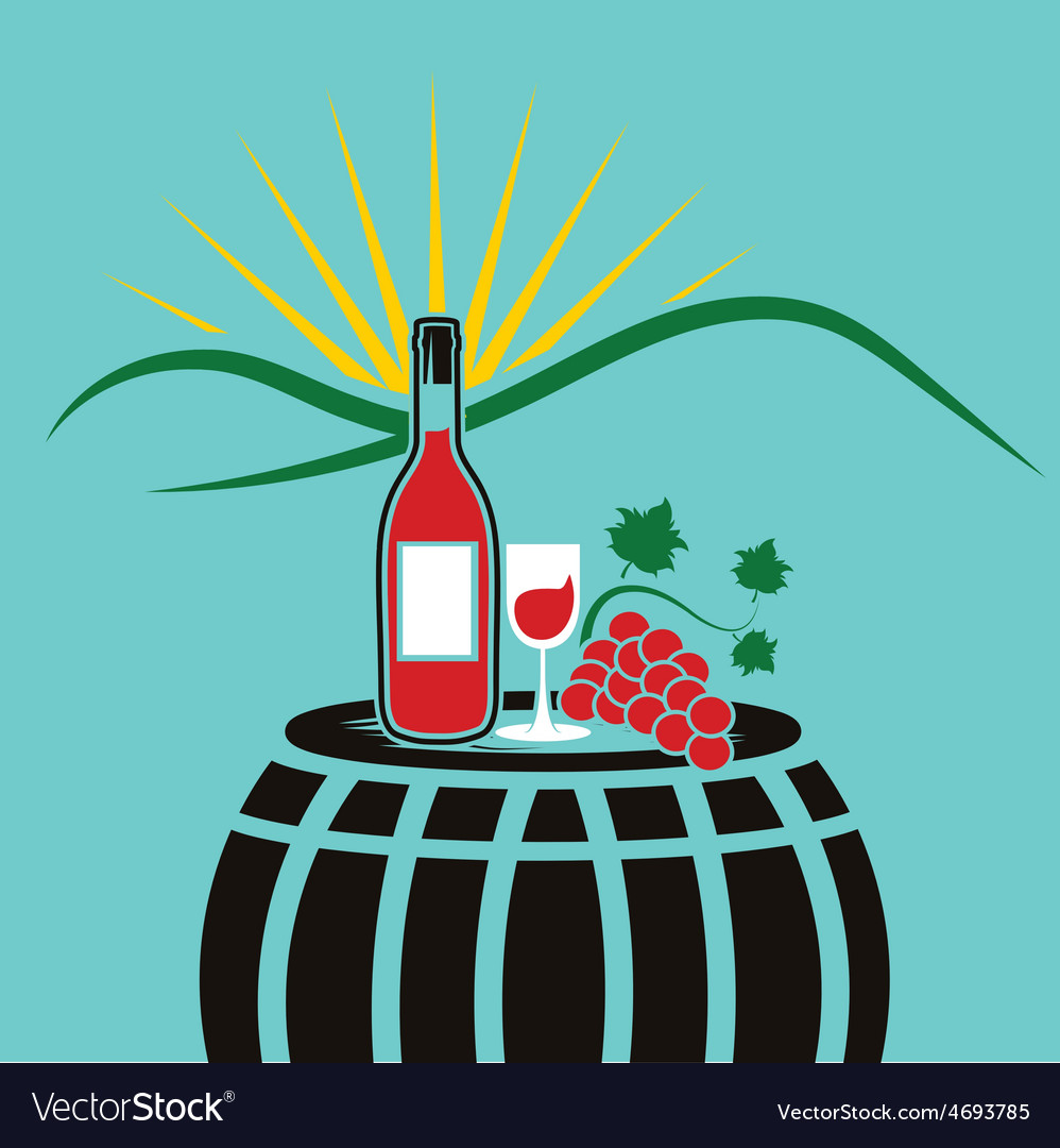 Wine bottlewineglass and grape on the background vector | Price: 1 Credit (USD $1)