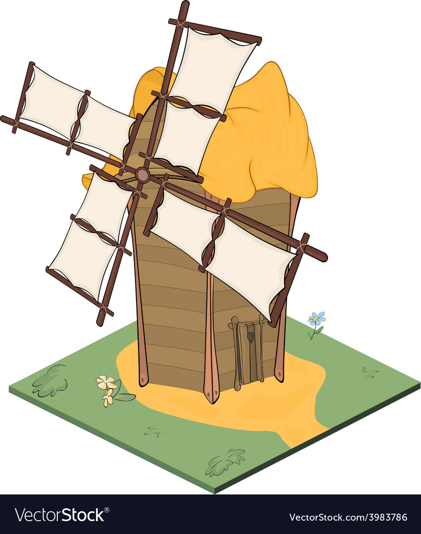 A video game object an old windmill vector | Price: 1 Credit (USD $1)