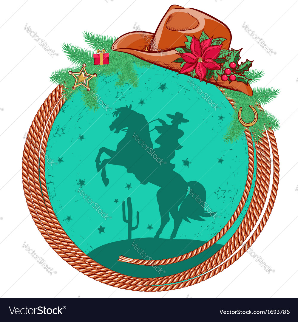 American cowboy christmas background vector | Price: 1 Credit (USD $1)