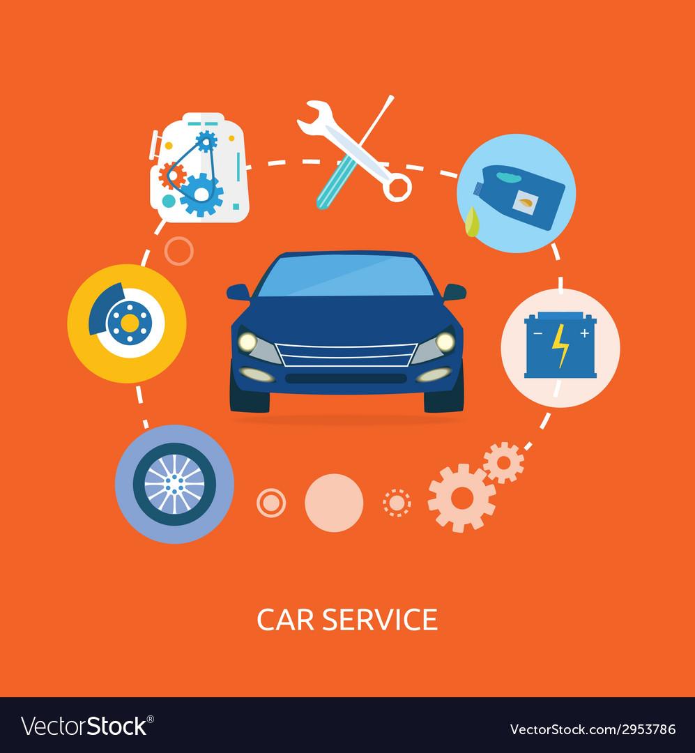 Auto mechanic service flat icons of maintenance vector | Price: 1 Credit (USD $1)