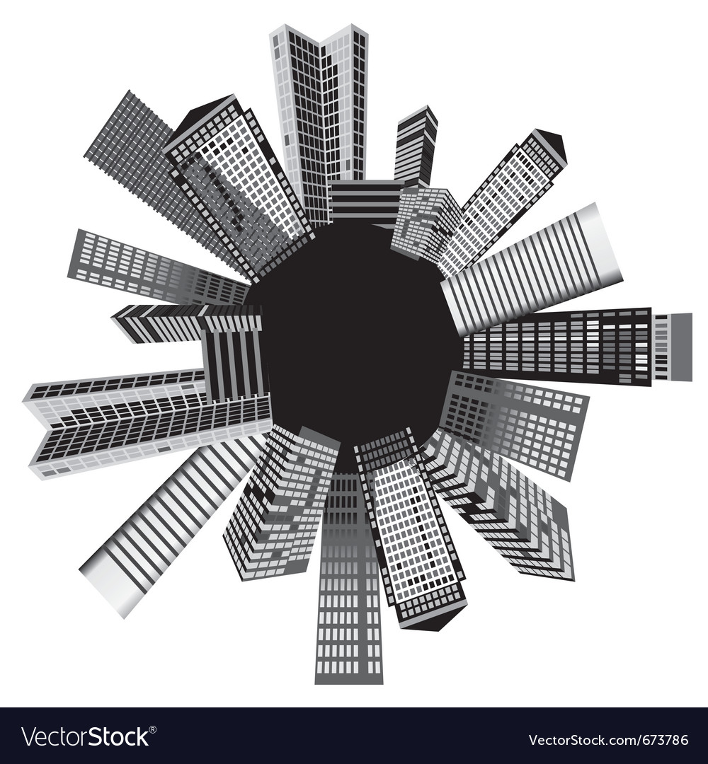 Black and white cities vector | Price: 1 Credit (USD $1)