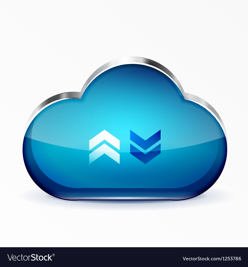 Blue modern 3d glass cloud icon vector | Price: 1 Credit (USD $1)