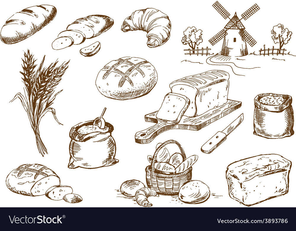 Bread set vector | Price: 1 Credit (USD $1)