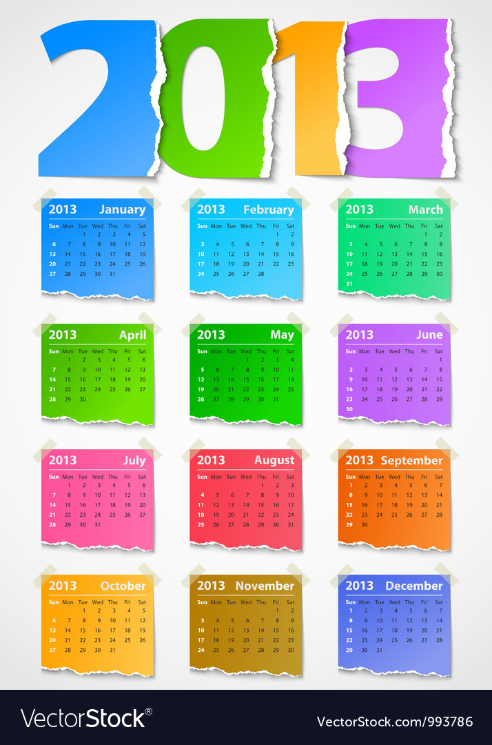 Calendar 2013 colorful torn paper vector | Price: 1 Credit (USD $1)