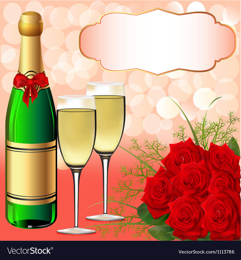 Christmas champagne background vector | Price: 1 Credit (USD $1)