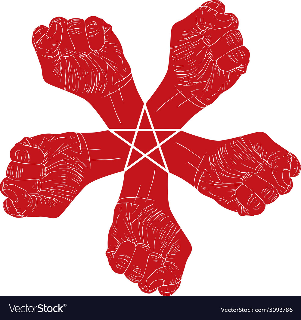Five fists abstract symbol with five point star vector | Price: 1 Credit (USD $1)