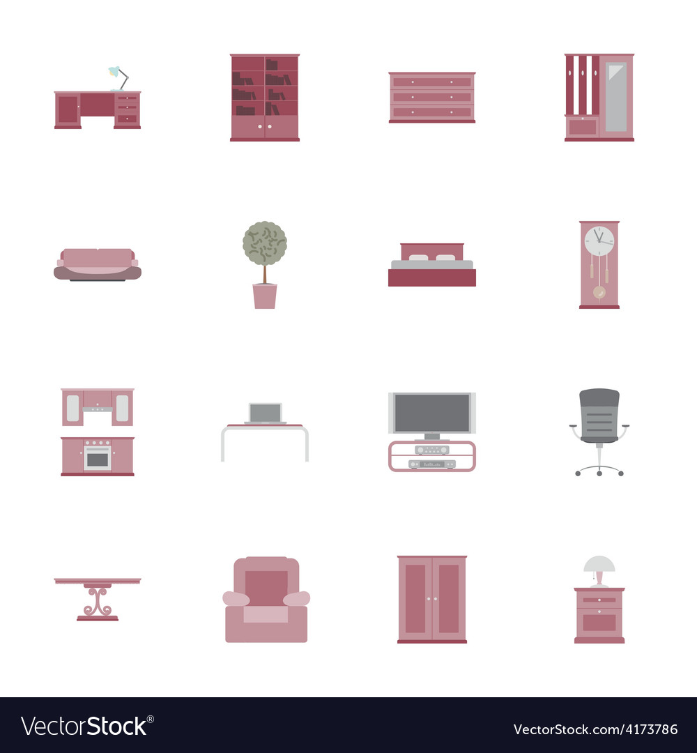 Furniture flat icon set vector | Price: 1 Credit (USD $1)