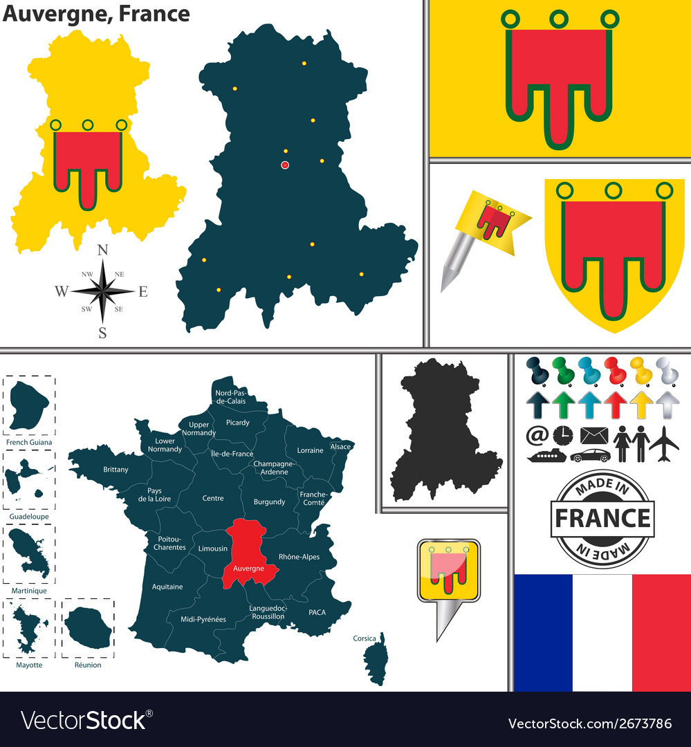 Map of auvergne vector | Price: 1 Credit (USD $1)