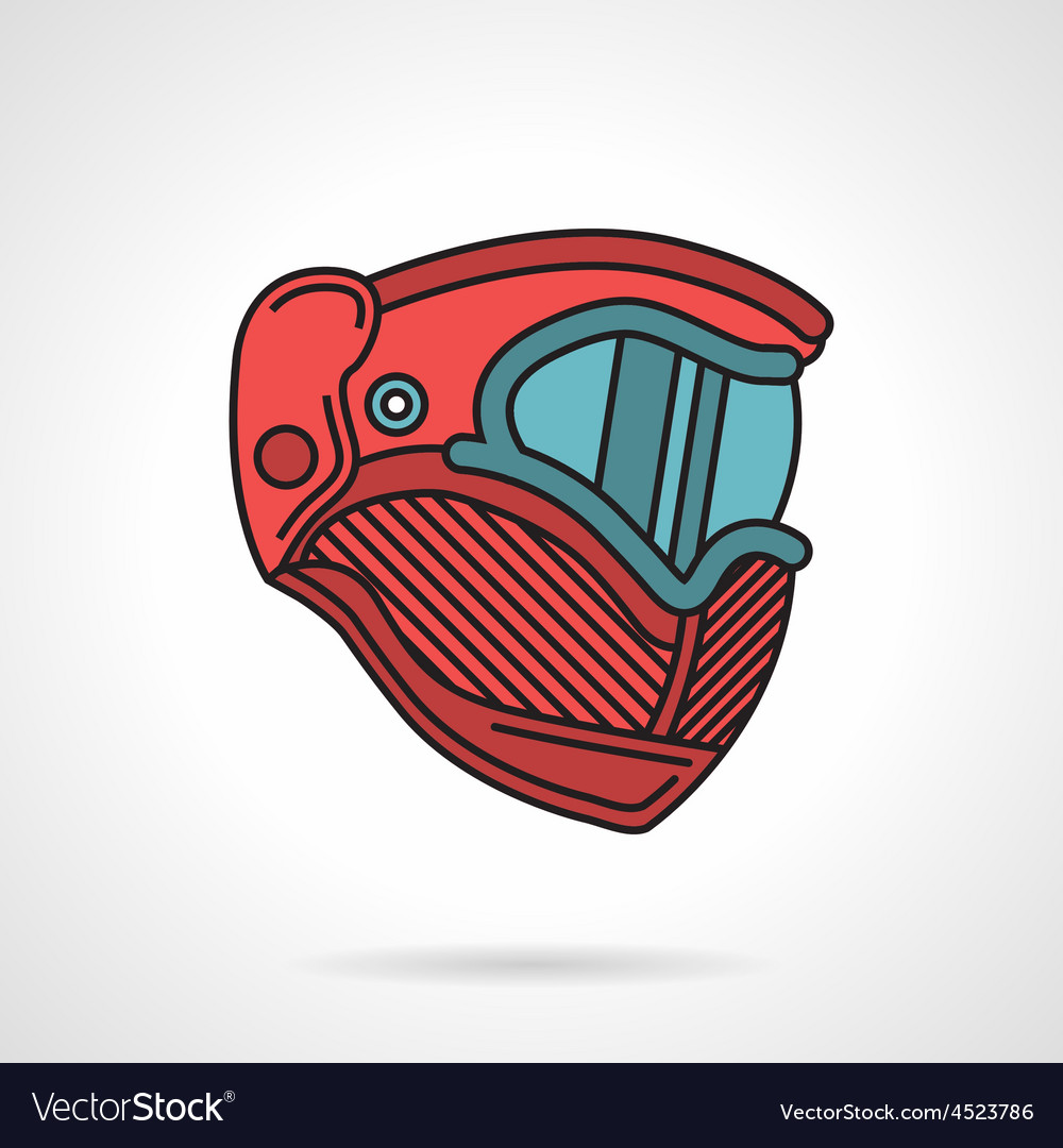 Red paintball mask flat icon vector | Price: 1 Credit (USD $1)