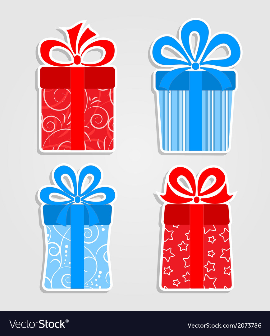Set of stickers - red and blue gift boxes vector | Price: 1 Credit (USD $1)