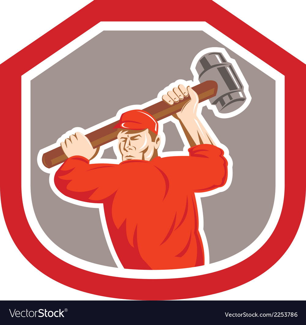 Union worker striking smashhammer shield retro vector | Price: 1 Credit (USD $1)