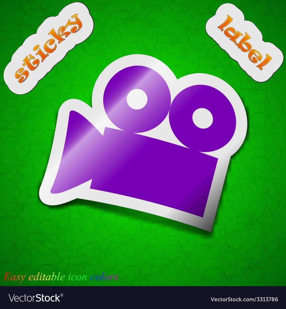 Video camera icon sign symbol chic colored sticky vector | Price: 1 Credit (USD $1)