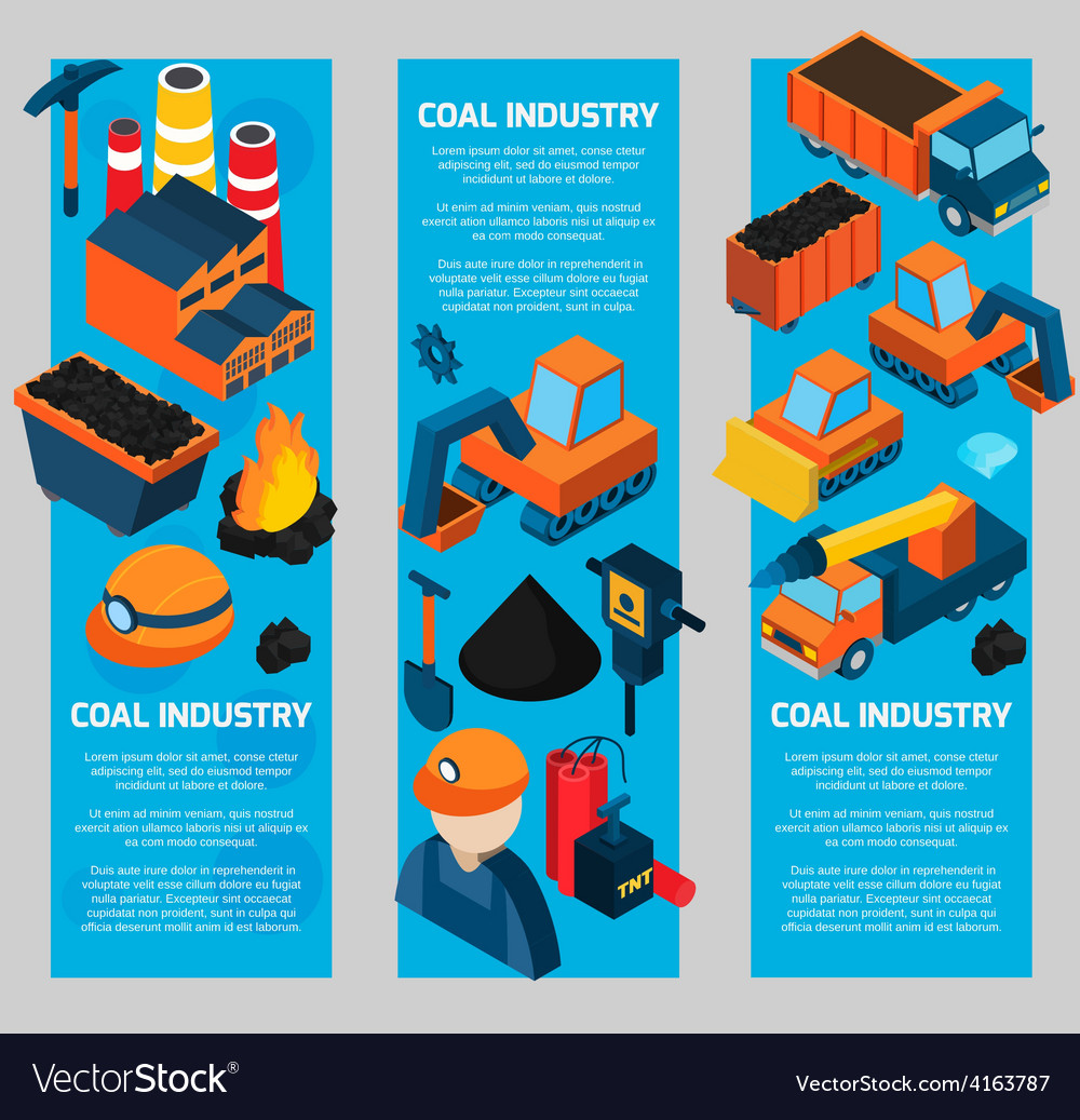 Coal industry isometric banners vector | Price: 3 Credit (USD $3)