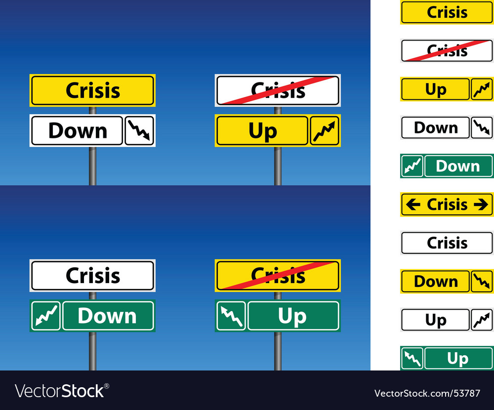 Crisis direction signs vector | Price: 1 Credit (USD $1)