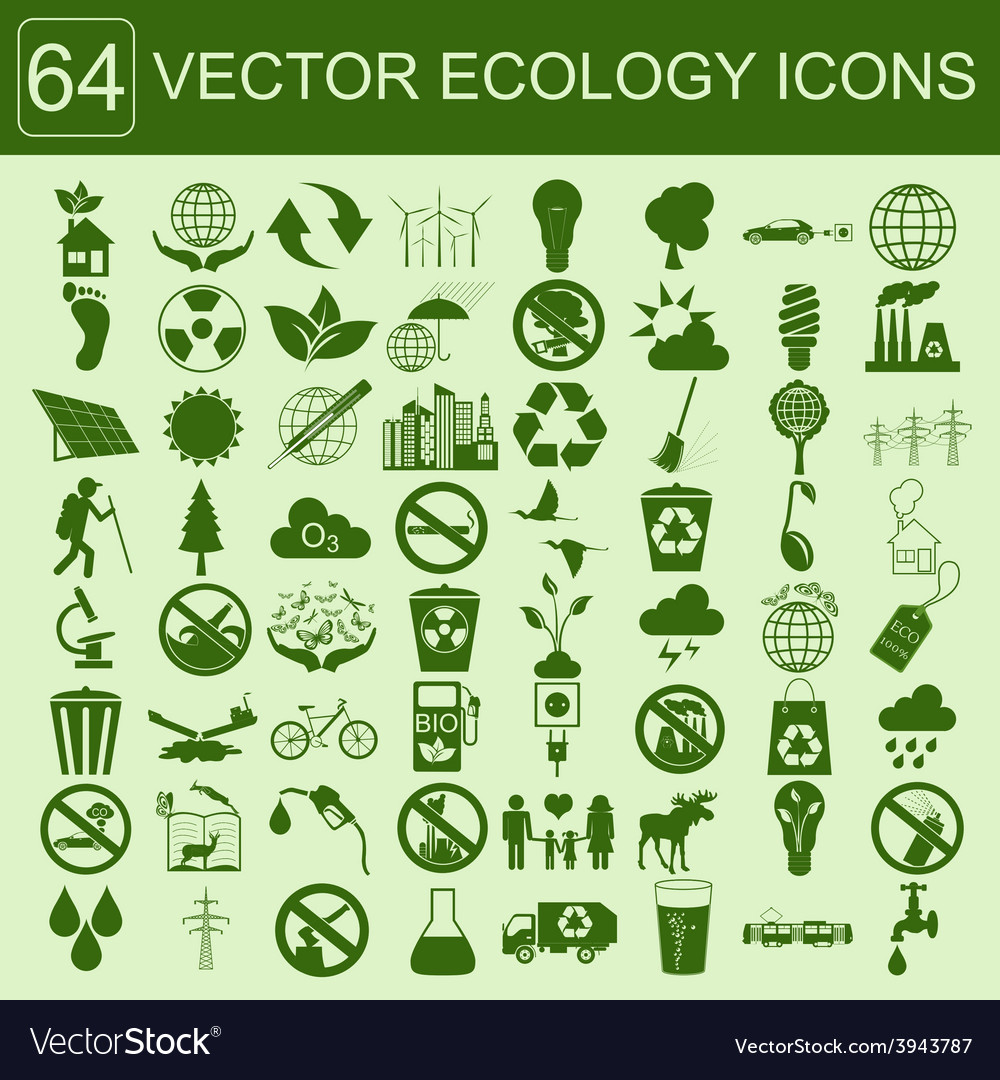 Environment ecology icon set environmental risks vector | Price: 1 Credit (USD $1)