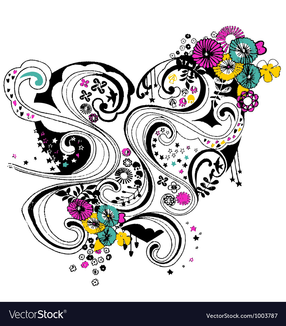 Floral heart scroll decorative pattern vector | Price: 1 Credit (USD $1)