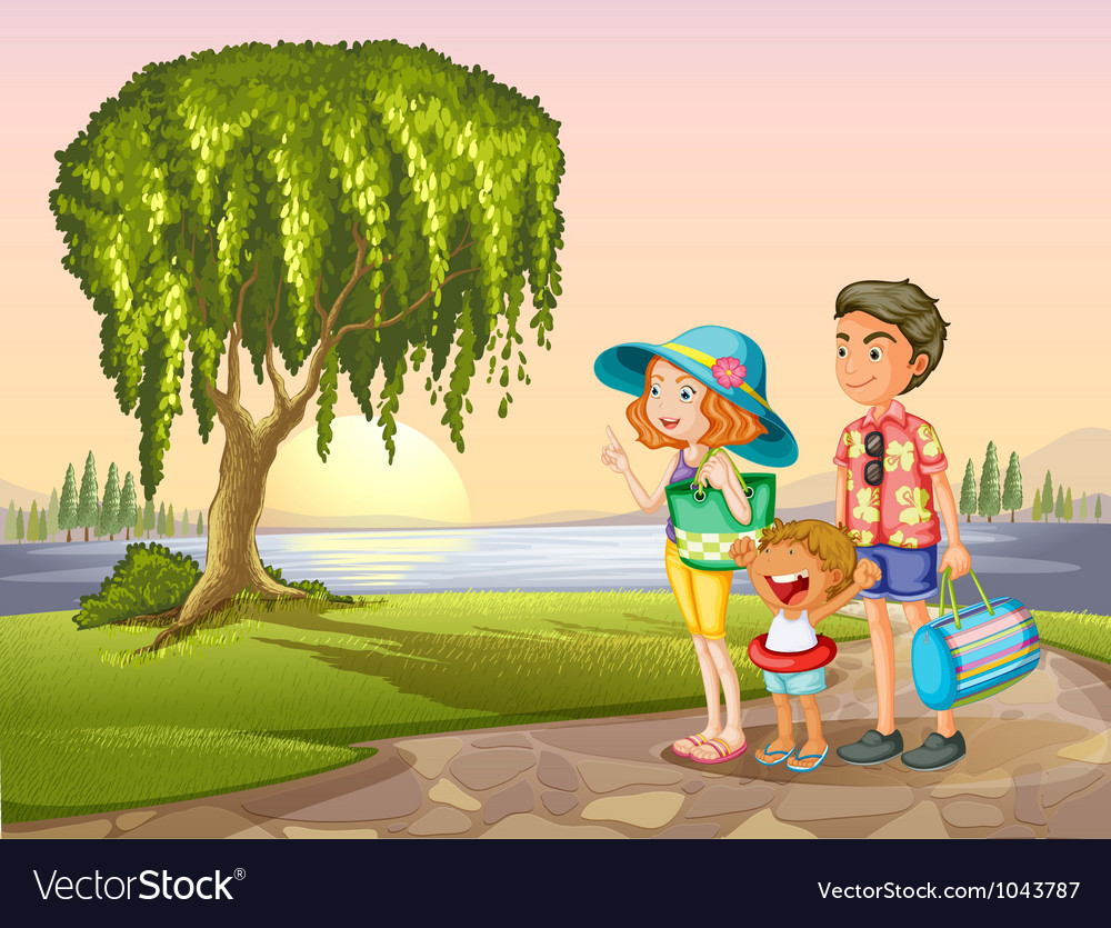 Man woman and kid standing around tree vector | Price: 5 Credit (USD $5)