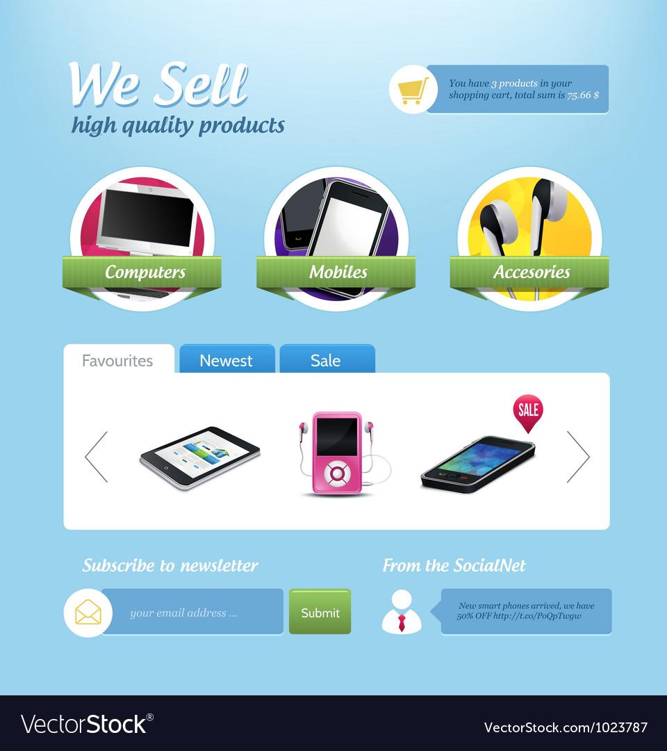 Mini e-commerce website template vector | Price: 5 Credit (USD $5)