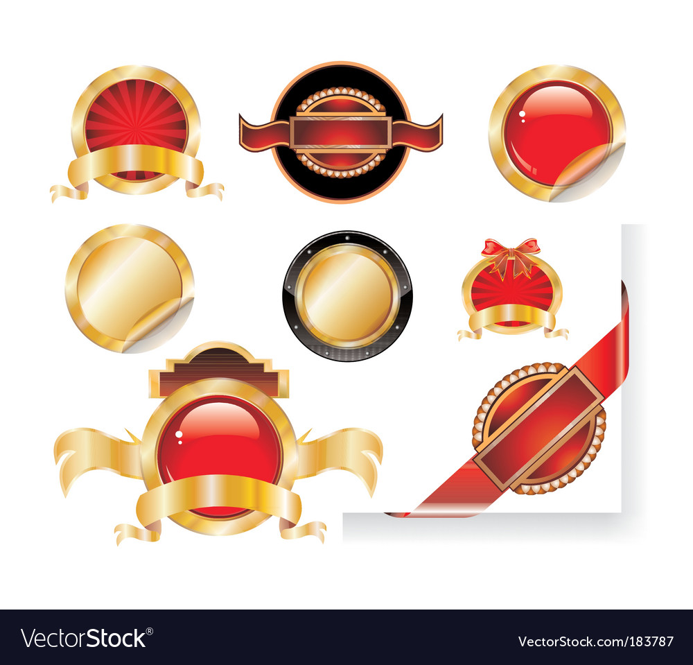 Set of gold label stickers vector | Price: 3 Credit (USD $3)