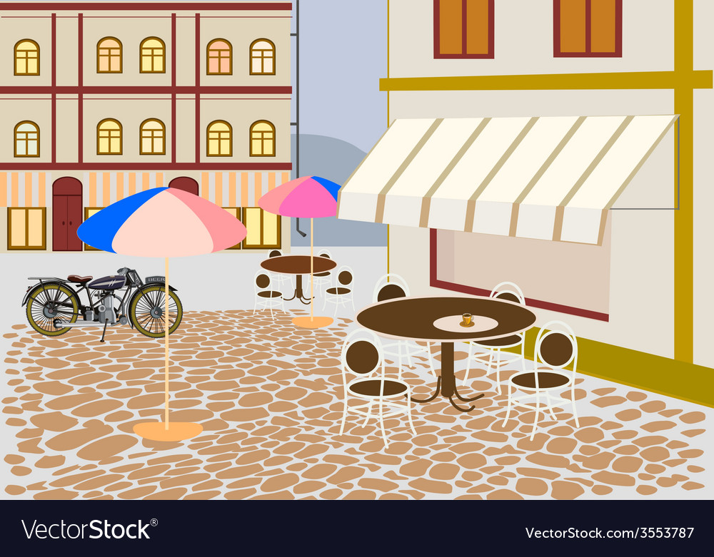Street cafes in the city vector | Price: 1 Credit (USD $1)
